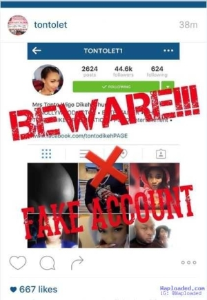 Tonto Dikeh Raises Alarm Over Yahoo Boy Impersonating Her With Fake IG Account